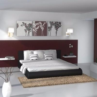 structure de lit simili cuir moderne ciel et terre. Black Bedroom Furniture Sets. Home Design Ideas