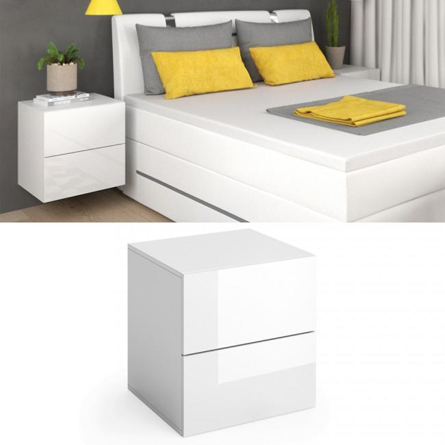table de chevet suspendu blanc brillant cielterre commerce. Black Bedroom Furniture Sets. Home Design Ideas