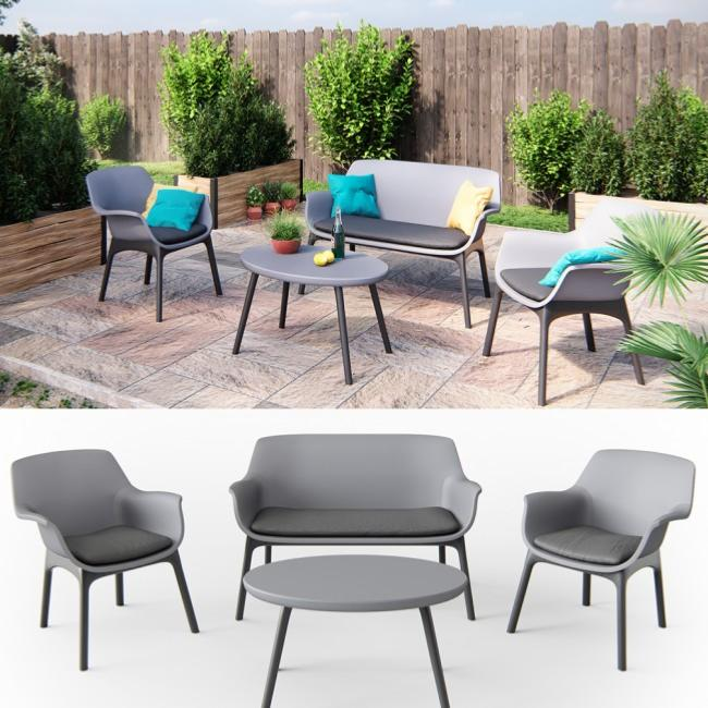Salon de jardin en PVC anthracite cielterre-commerce