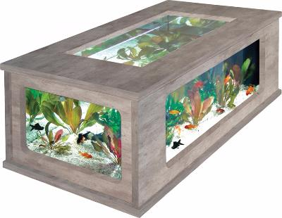 Aquarium table basse 3 couleurs ciel et terre - Table basse aquarium design ...