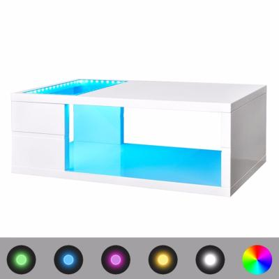 Table basse LED blanc brillant