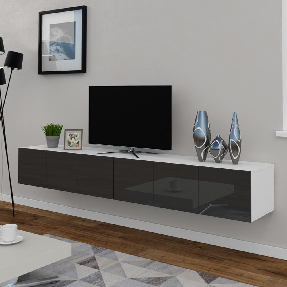 meuble tv buffet anthracite brillant 240 cm cielterre. Black Bedroom Furniture Sets. Home Design Ideas