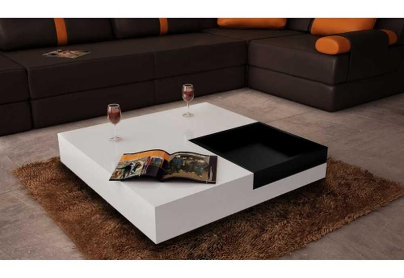 Table basse 2 couleurs ciel et terre - Table basse de salon blanche ...