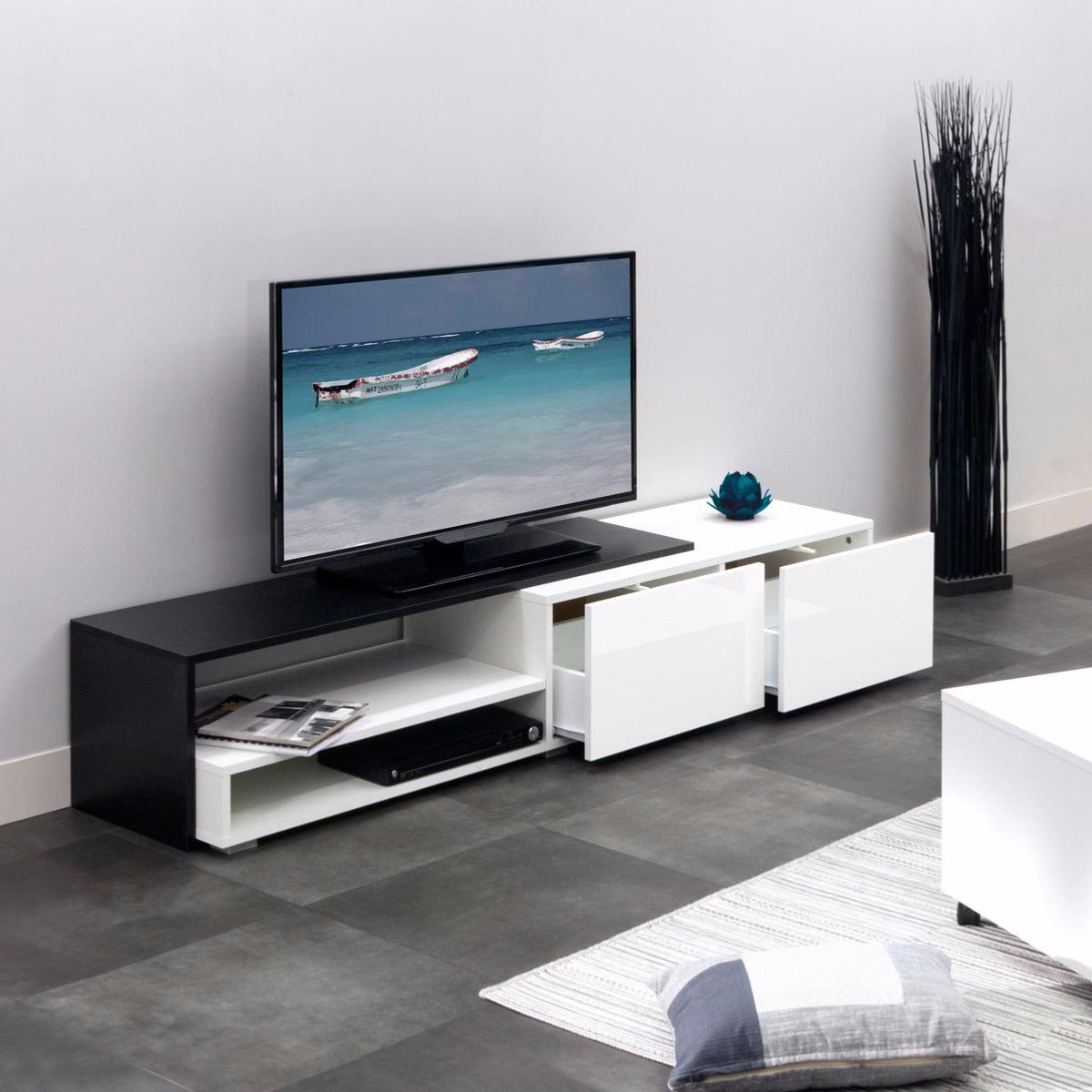 meuble tv laqu blanc noir cielterre commerce. Black Bedroom Furniture Sets. Home Design Ideas