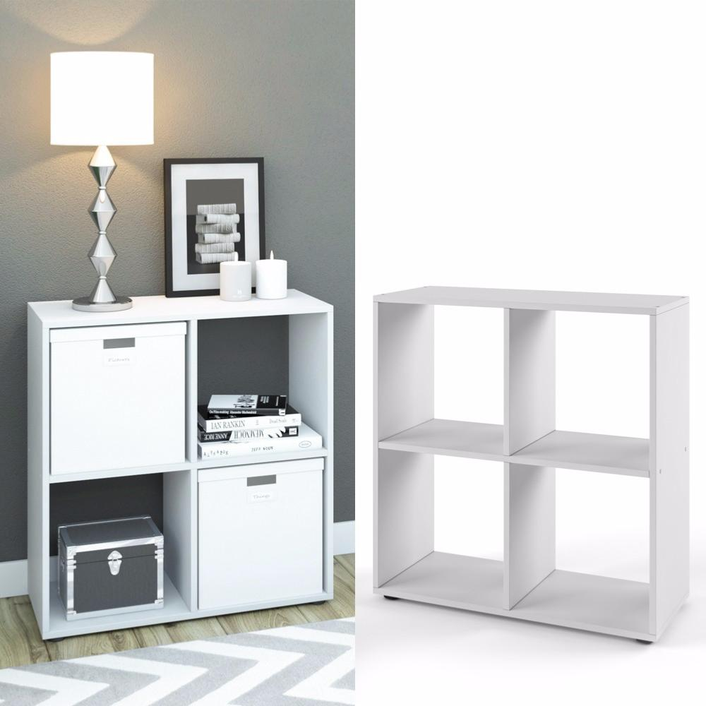 Meuble tag res blanc 4 compartiments cielterre commerce for Meuble bureau etagere