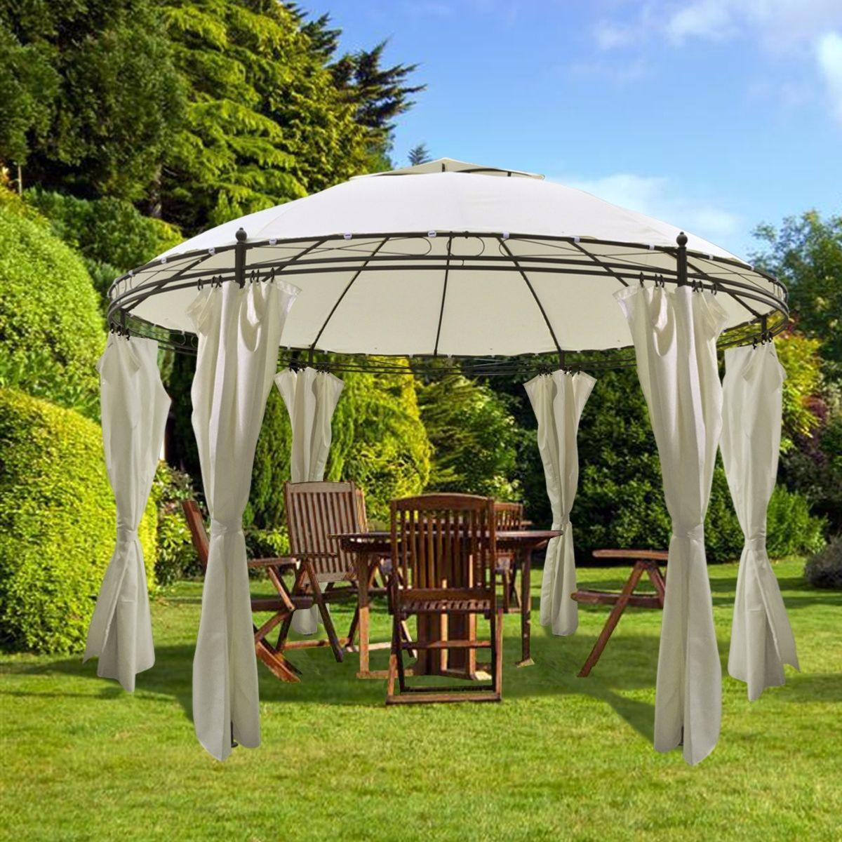 pergola ronde avec rideaux cielterre commerce. Black Bedroom Furniture Sets. Home Design Ideas