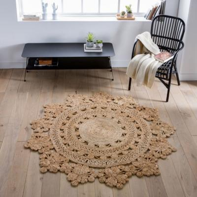 Tapis rond forme flocon