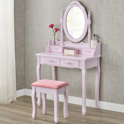 Coiffeuse table de maquillage rose