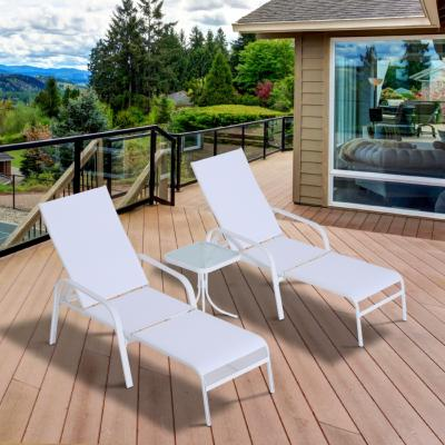 Lot 2 chaises longues + table