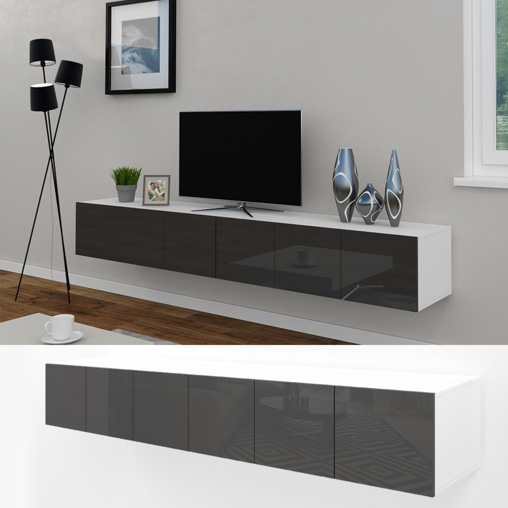 meuble tv buffet anthracite brillant 240 cm cielterre commerce. Black Bedroom Furniture Sets. Home Design Ideas