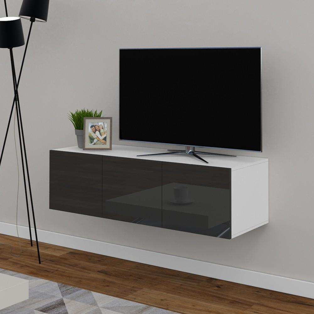 meuble tv buffet anthracite brillant cielterre commerce. Black Bedroom Furniture Sets. Home Design Ideas