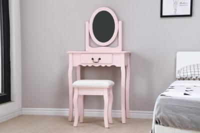 Coiffeuse rose table de maquillage + tabouret