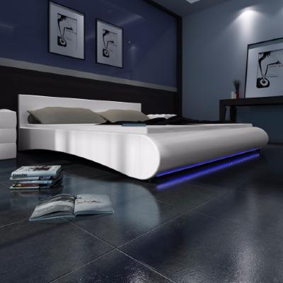 lit avec led noir ou blanc moderne 180x200 cm ciel et terre. Black Bedroom Furniture Sets. Home Design Ideas