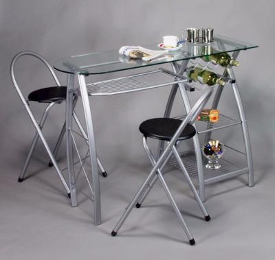 table cuisine verre avec 2 chaises ciel et terre. Black Bedroom Furniture Sets. Home Design Ideas