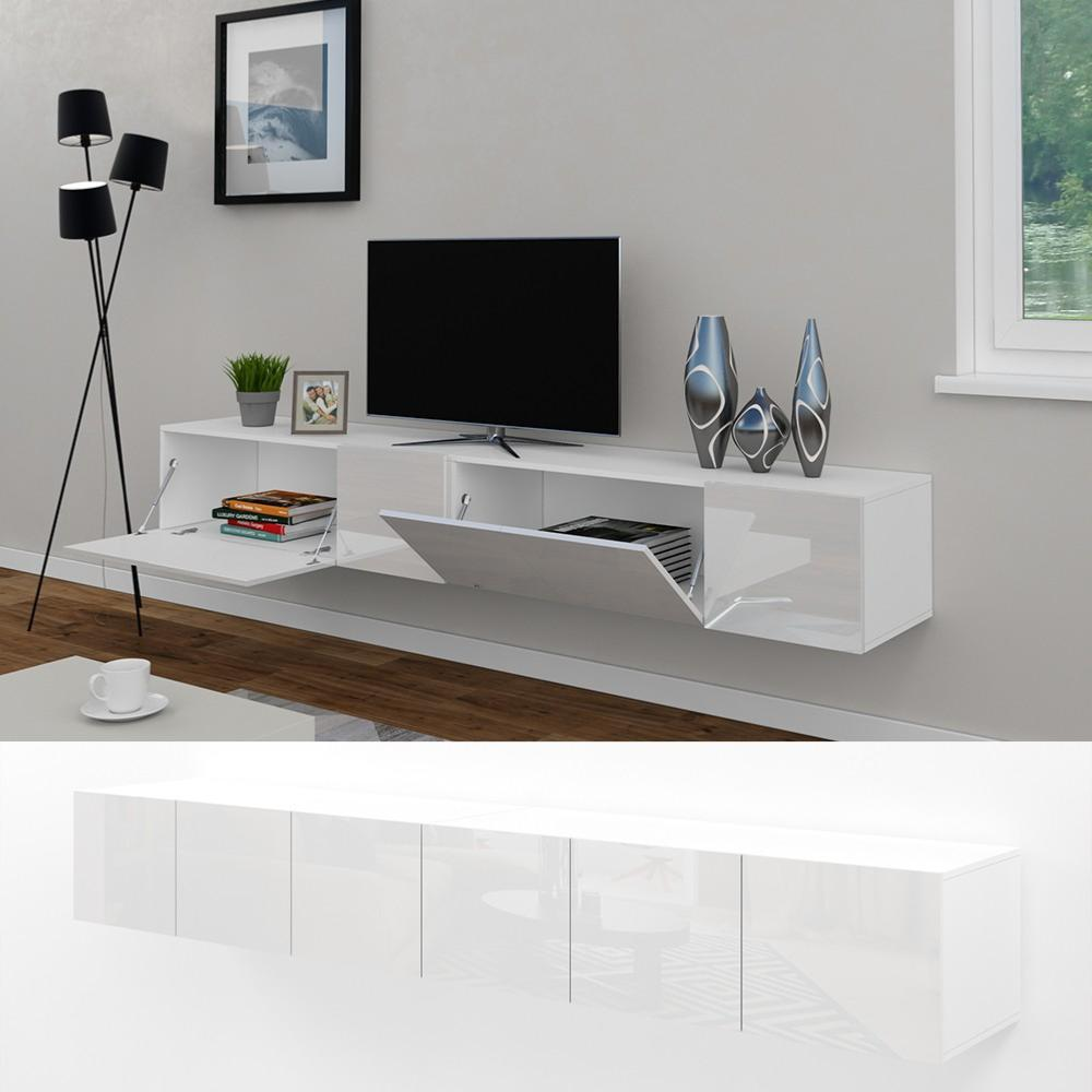 meuble tv buffet blanc brillant 240 cm cielterre commerce. Black Bedroom Furniture Sets. Home Design Ideas