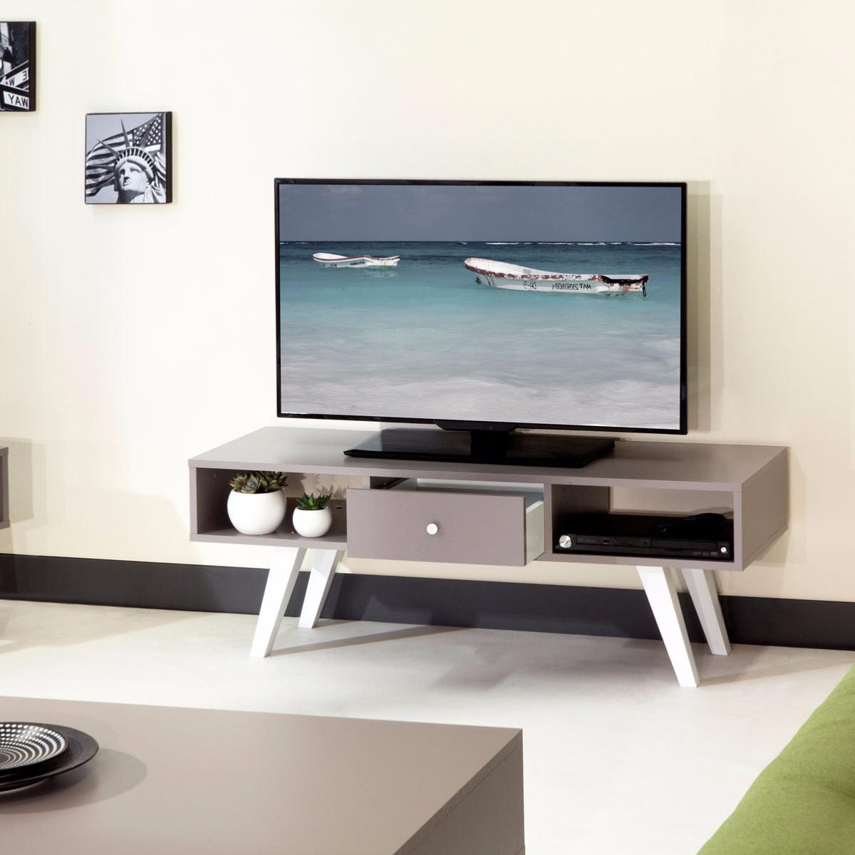 Meuble Tv Scandinave Taupe Blanc Cielterre Commerce